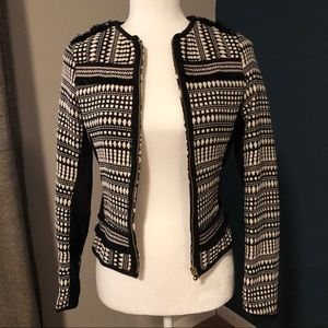 H&M jacquard and fringe fitted jacket
